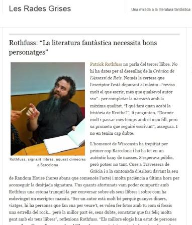 Entrevista amb Patrick Rothfuss a Les Rades Grises